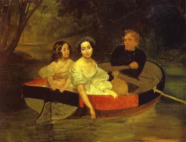 Karl Brulloff. Self-portrait with Baroness Ye. N. Meller-Zakomelskaya and a Girl in a Boat.