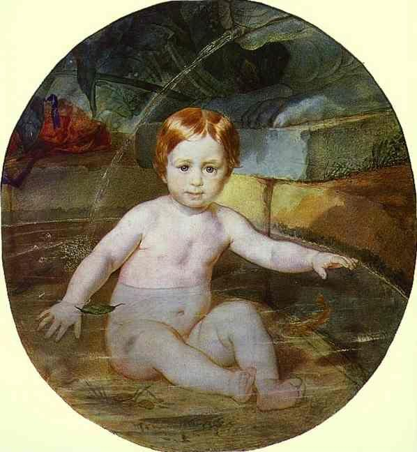Karl Brulloff. Child in a Swimming Pool (Portrait of Prince A. G. Gagarin in Childhood).