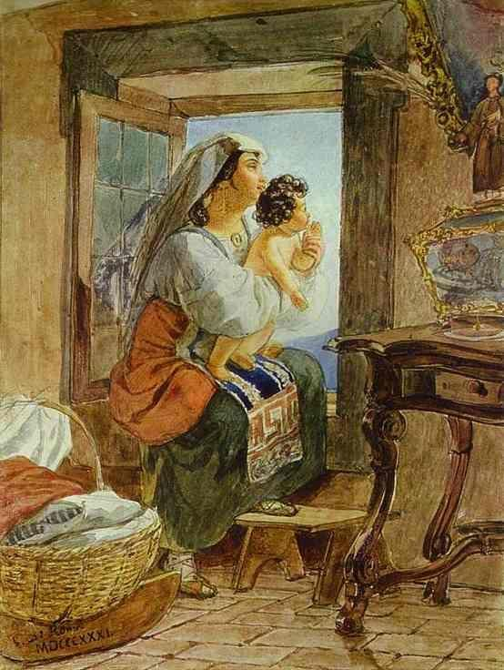 Karl Brulloff. Italian Woman with a Child by a Window.