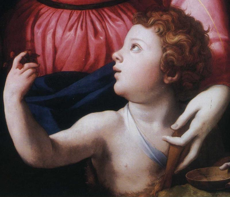 Agnolo Bronzino. The Madonna and Child with the Infant St. John the Baptist and a Saint. Detail.