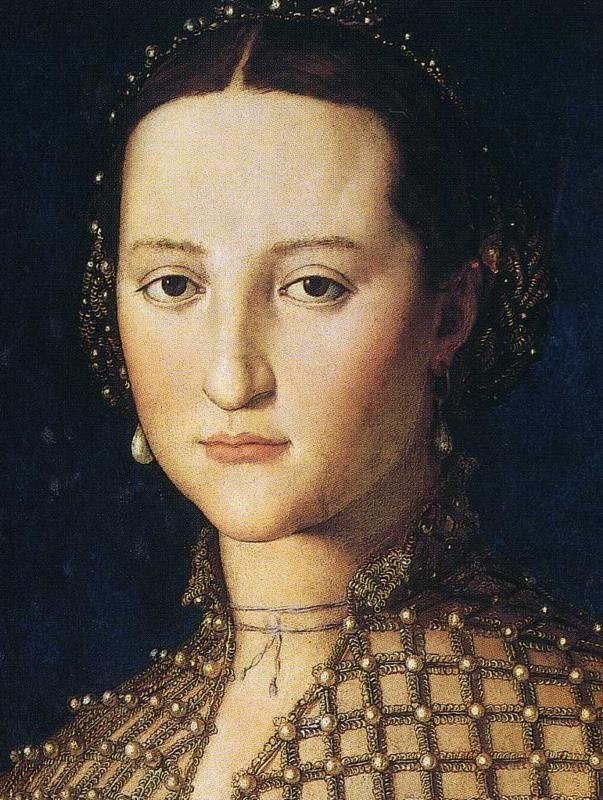 Agnolo Bronzino. Portrait of Eleonora of Toledo as a Young Woman. Detail.