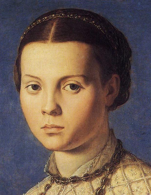 Agnolo Bronzino. Portrait of Girl with a Prayer Book. Detail.