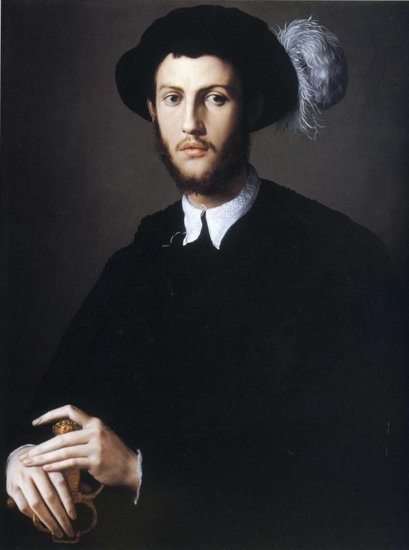 Agnolo Bronzino. Portrait of Young Man in a Hat with a Feather.