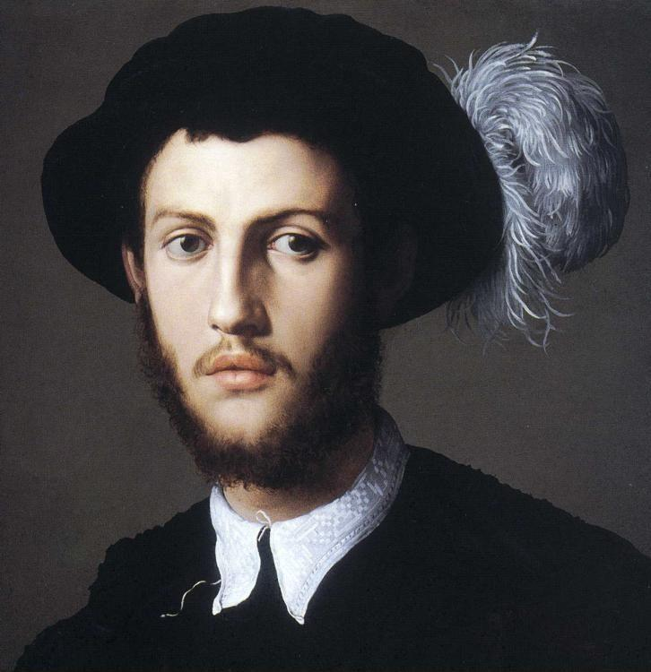 Agnolo Bronzino. Portrait of Young Man in a Hat with a Feather. Detail.