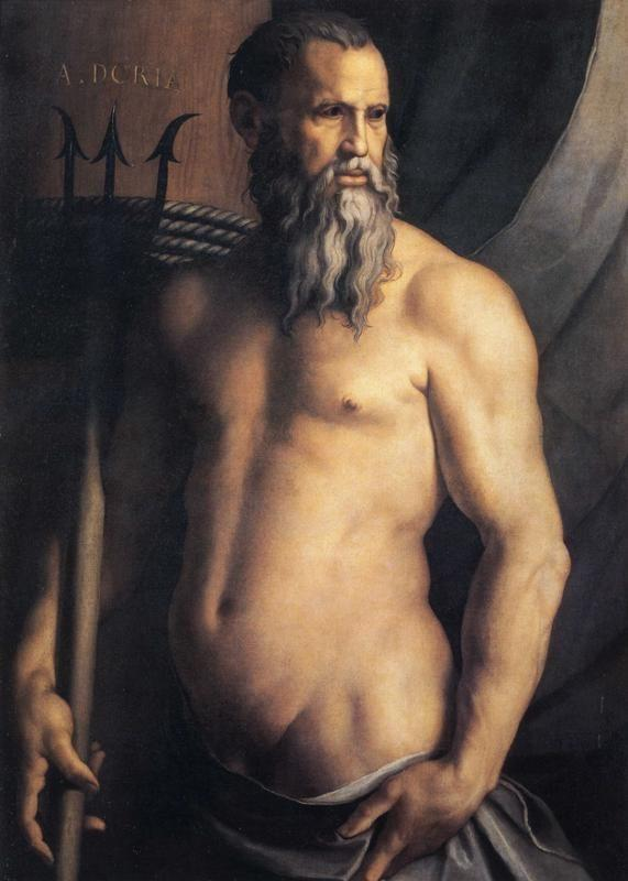 Agnolo Bronzino. Portrait of Andrea Doria as Neptune.