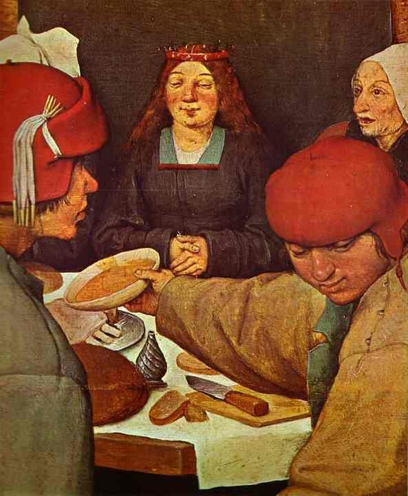 Pieter Bruegel the Elder. The Peasant Wedding. Detail.