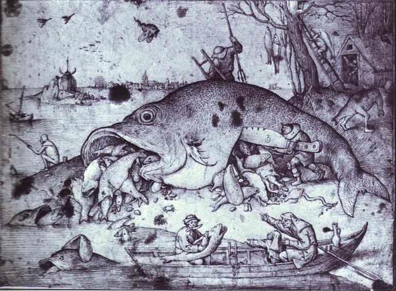 Pieter bruegel the elder big fish eat little fish for Big fish eat small fish