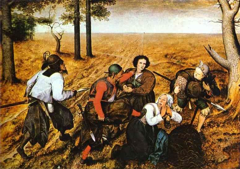 Pieter Bruegel the Elder. A Peasant Couple Attacked by Robbers.