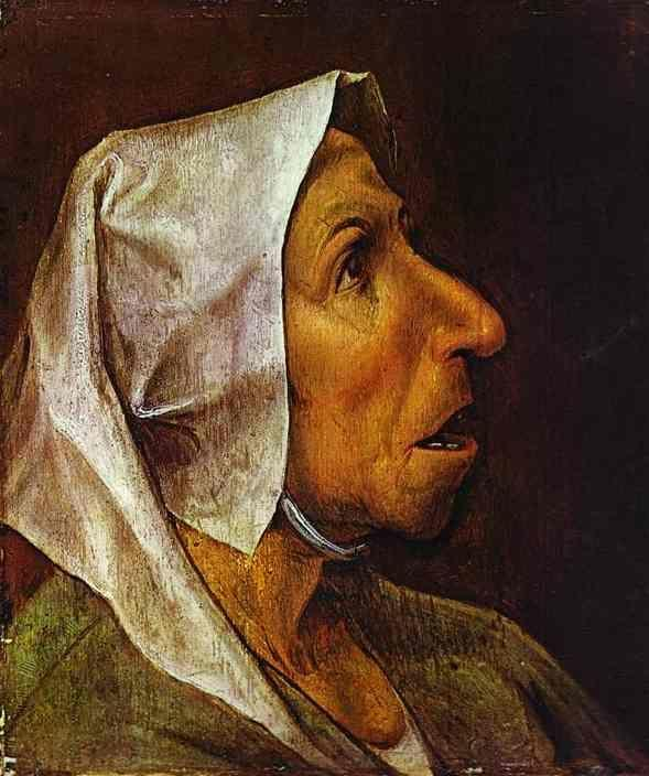 Pieter Bruegel the Elder. Head of the Old Peasant Woman.
