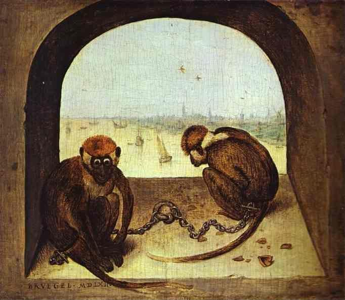 Pieter Bruegel the Elder. Two Chained Monkeys.