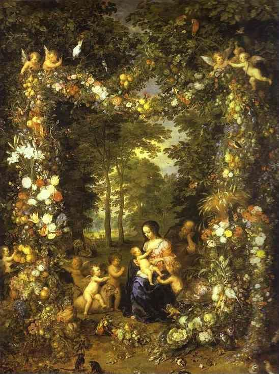 Jan Brueghel the Elder and Pieter van Avont (1600-1632). Holy Family in a Flower and Fruit Wreath.