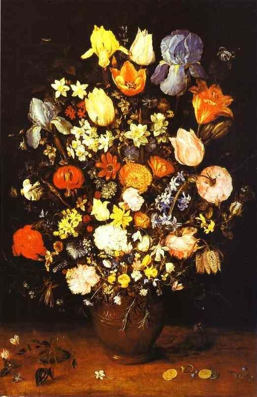 Jan Brueghel the Elder. Vase of Flowers with Irises.