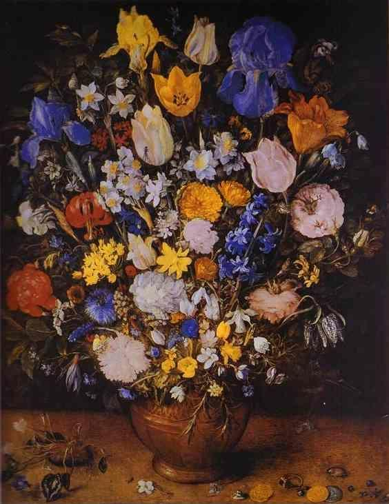 Jan Brueghel the Elder. Bouquet in a Clay Vase.