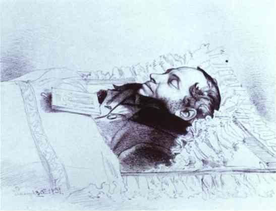 Feodor Bruni. Alexander Pushkin on His Deathbed.