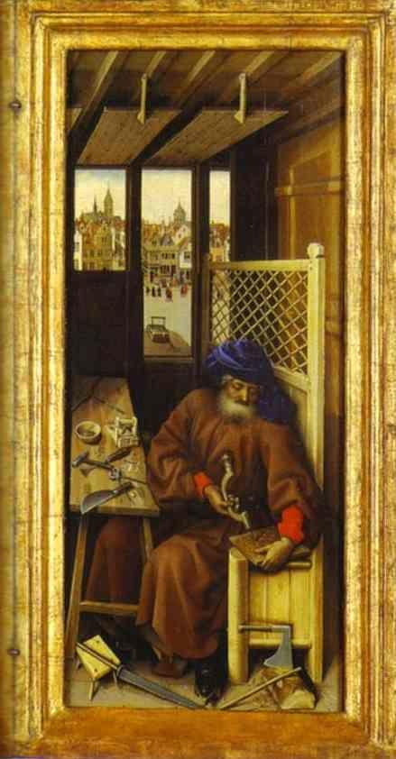 Robert Campin. The Annunciation. (The Merode Altarpiece). The right panel of the triptych.