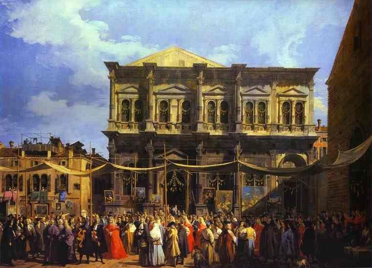 Canaletto. The Doge Visiting the Church and Scuola di San Rocco.
