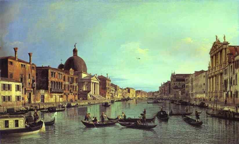Canaletto. Grand Canal: Looking South-West from the Chiesa degli Scalzi to the Fondamenta della Croce, with San Simeone Piccolo.