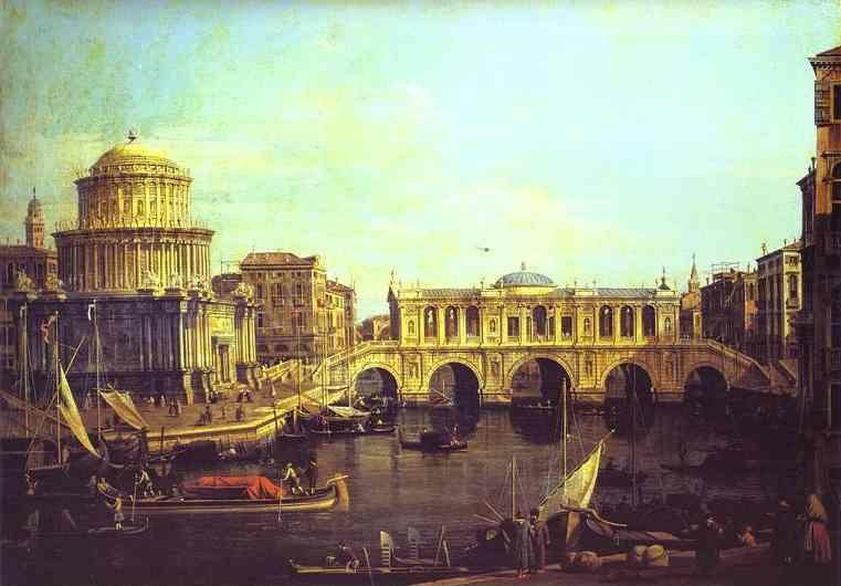 Canaletto. Capriccio: the Grand Canal, with an Imaginary Rialto Bridge and Other Buildings.