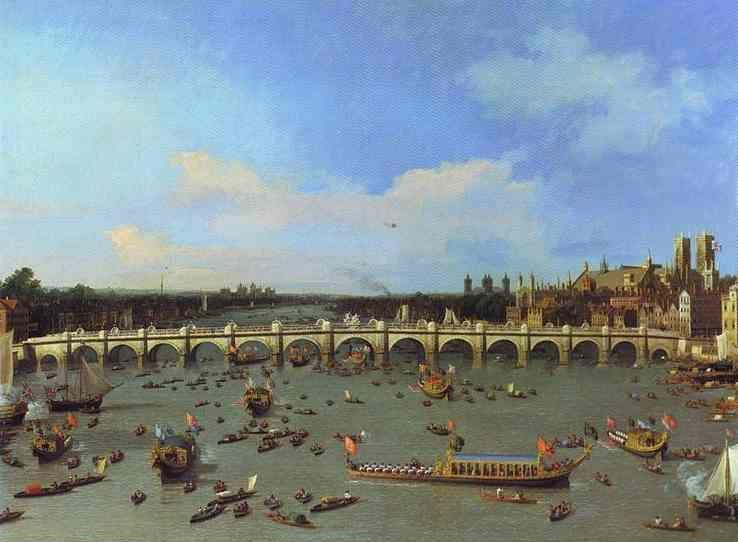 Canaletto. London: Westminster Bridge from the North on Lord Mayor's Day.