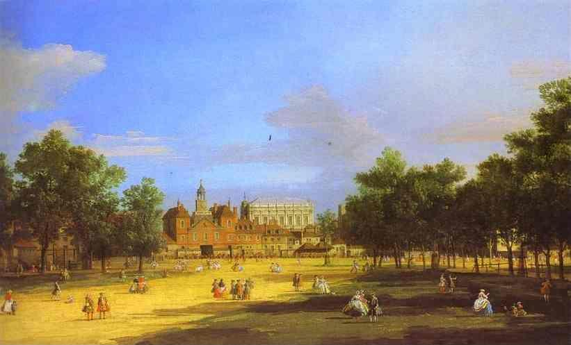Canaletto. London: the Old Horse Guards and Banqueting Hall, from St. James' Park.