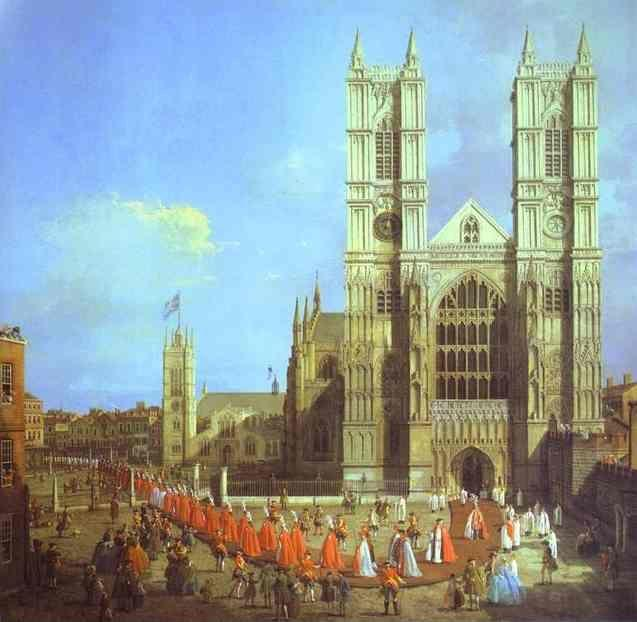Canaletto. London: Westminster Abbey, with a Procession of Knights of the Bath.