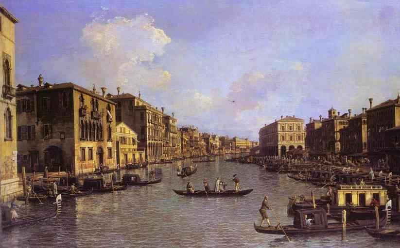 Canaletto. Grand Canal: Looking South-East from the Campo Santo Sophia to the Rialto Bridge.