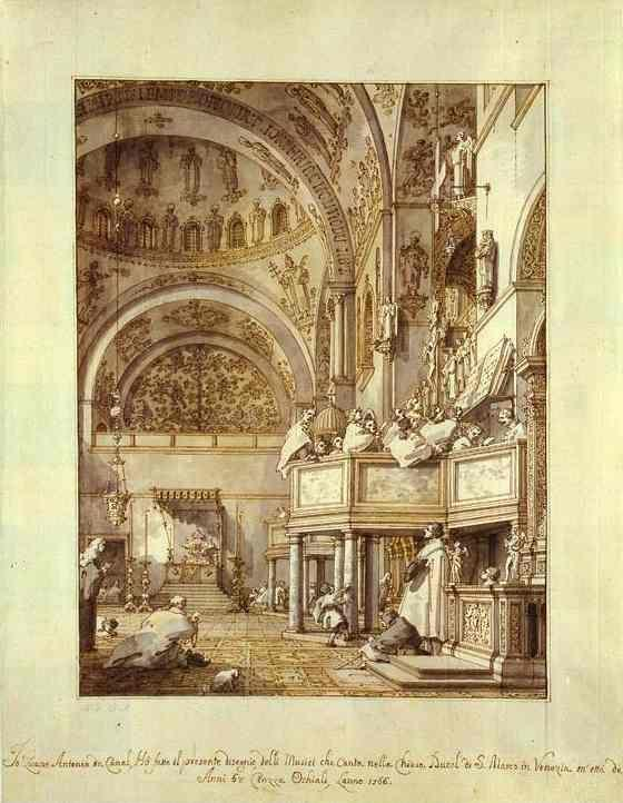 Canaletto. San Marco: the Crossing and North Transept, with Musicians Singing.