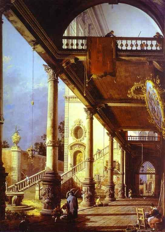 Canaletto. Capriccio of Colonade and the Courtyard of a Palace.