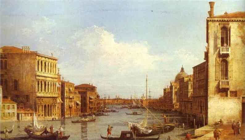 Canaletto. The Grand Canal from Campo S. Vio towards the Bacino.