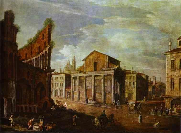 Canaletto. Church of St. Antony and St. Phaustina in Rome.