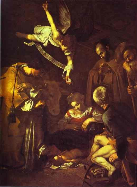 Caravaggio. Nativity with Saints Francis and Lawrence.