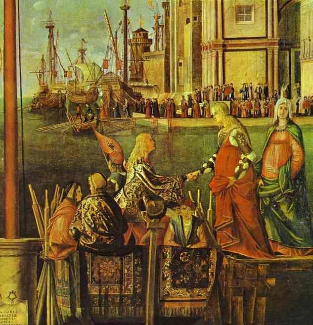 Vittore Carpaccio. The Legend of St. Ursula: The Meeting of the Betrothed and the Departure for the Pilgrimage. Detail.