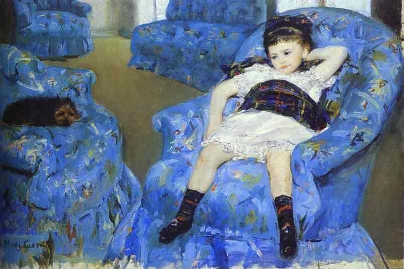 Mary Cassatt. Little Girl in a Blue Armchair.