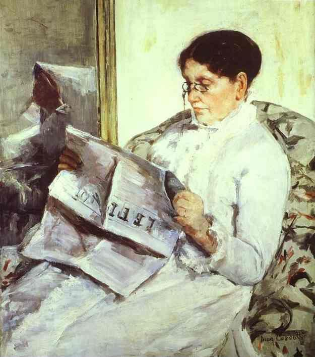 Mary Cassatt. Reading Le Figaro. (Portrait of the Artist's Mother).