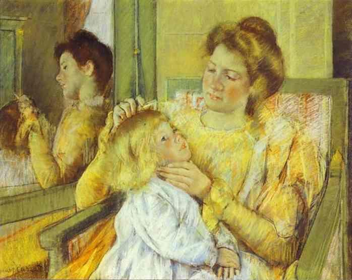 Mary Cassatt. Mother Combing Her Child's Hair.