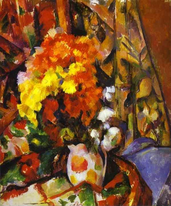 Paul Cézanne. Vase with Flowers. Chrysanthemums.