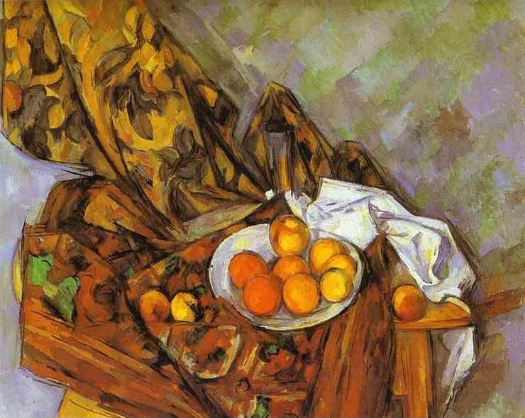 Paul Cézanne. Still Life with Flower Curtain and Fruit.