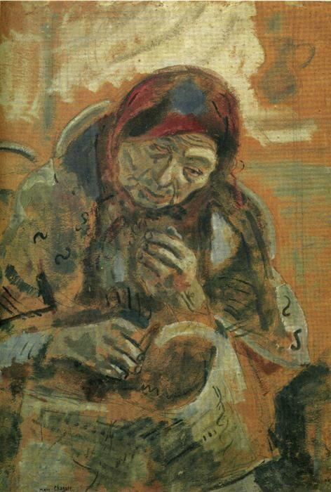 Marc Chagall. Old Woman with a Ball of Yarn.