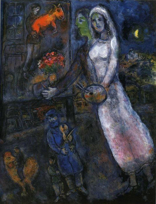 Marc Chagall. Newlyweds and Violinist.