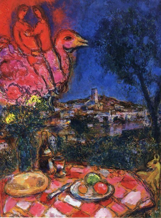 Marc Chagall. Laid Table with View of Saint-Paul de Vance.