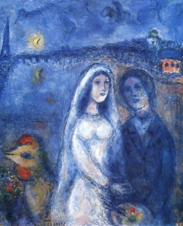Marc Chagall. Newlyweds with Eiffel Towel in the Background.