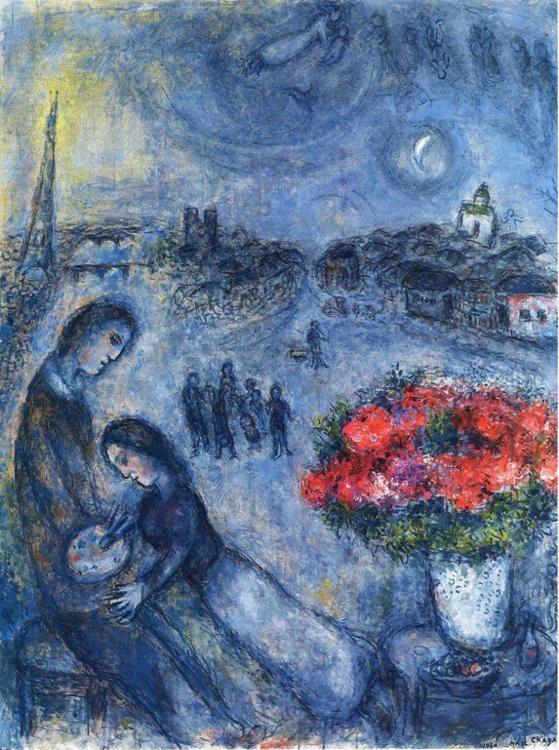 Marc Chagall. Newlyweds with Paris in the Background.