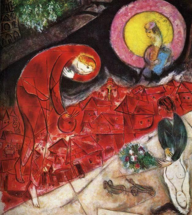 Marc Chagall. Red Roofs (Le toits rouges).