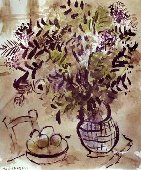 Marc Chagall Still Life With Vase Of Flowers