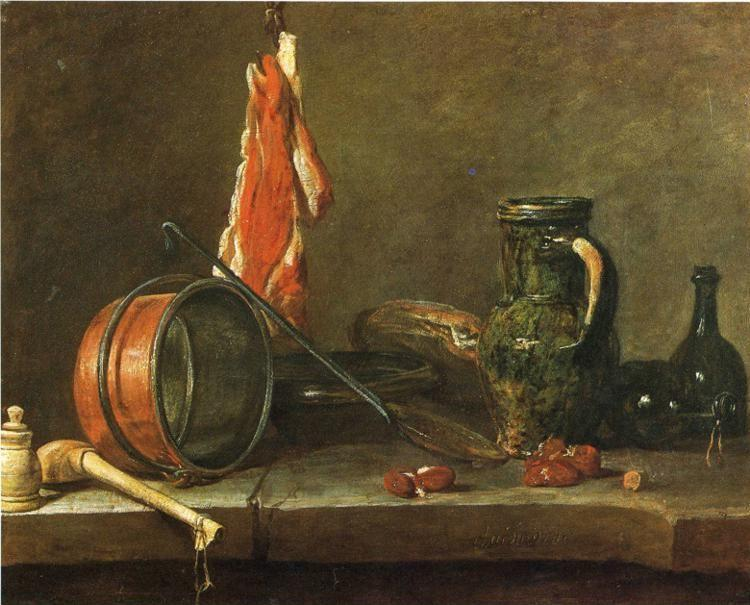 "Jean-Baptiste-Simeon Chardin. A ""Lean Diet"" with Cooking Utensils."