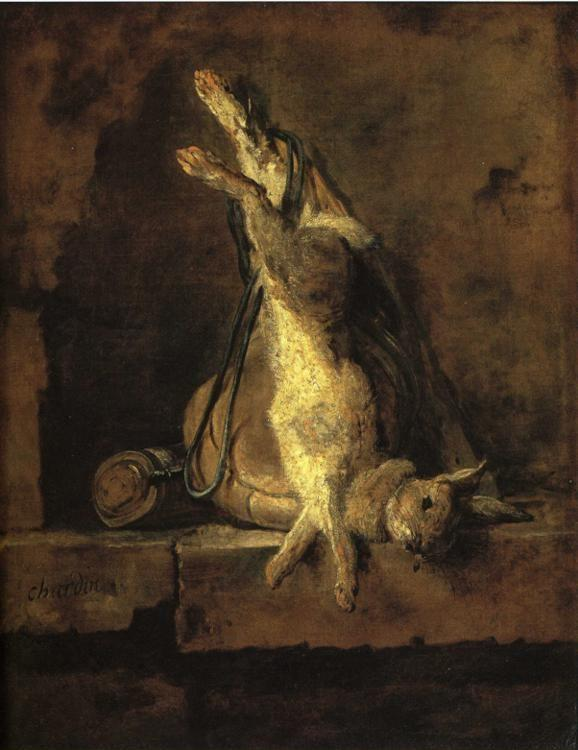 Jean-Baptiste-Simeon Chardin. Wild Rabbit with Game-Bag and Powder Flask.