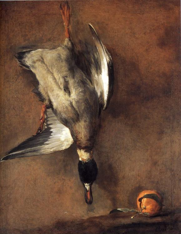 Jean-Baptiste-Simeon Chardin. A Green-Neck Duck with a Seville Orange.