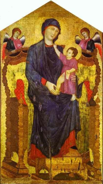 Cimabue. Madonna and Child Enthroned with Two Angels.