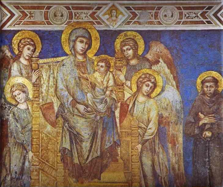 Cimabue. Madonna with Angels and St. Francis. Detail.