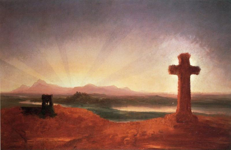 Thomas Cole. Unfinished Landscape (The Cross at Sunset).